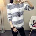2017 Winter Female Sweet Mohair Striped Slim Knit Sweaters Casual Knitted Long Sleeve Pullovers Sweater Jacket Women Clothes DW