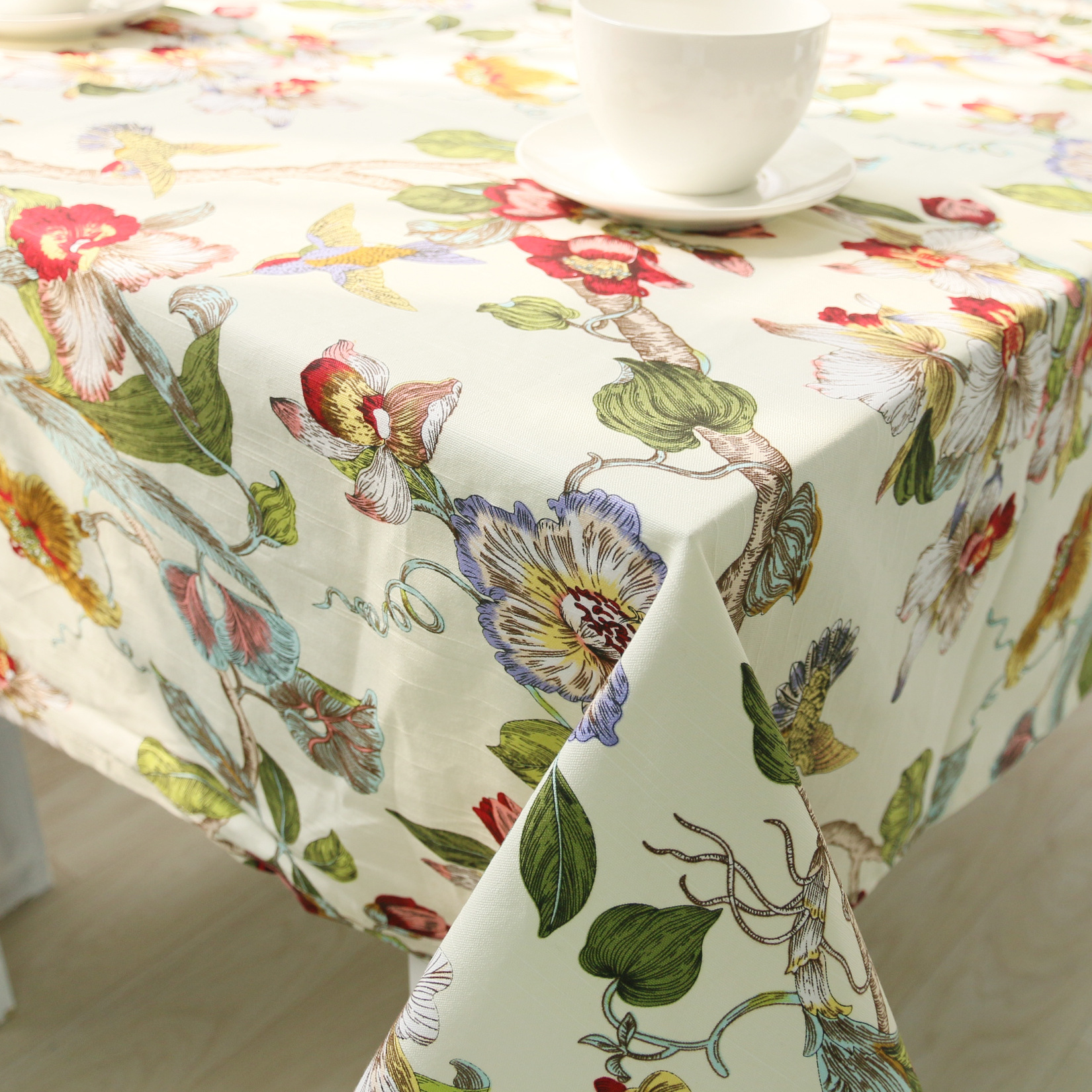 Chinese Style Floral Table Cloth Cotton Table Cover Toalha