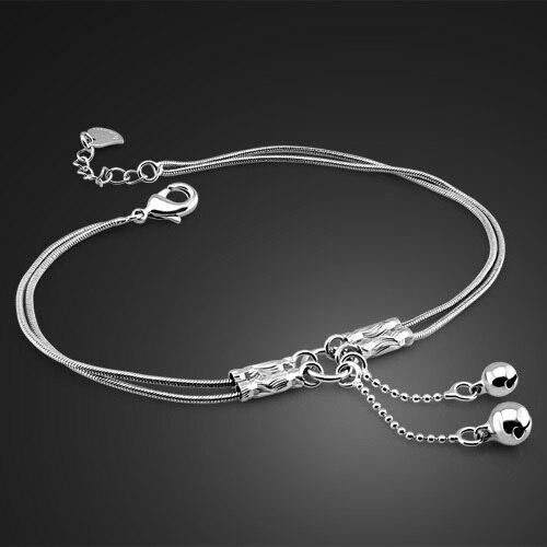 Moda śliczne dziewczyny bell obrączki. kobiet stałe 925 sterling srebrny wąż łańcuch obrączki. zakontraktowane podwójny łańcuch 27 cm obrączki. Biżuteria