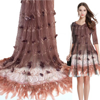 High quality Nigerian mesh lace fabric African French 3D lace stone embroidered lace dress 0460