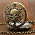 Bronce Vintage Steampunk Hollow Carribean pirata cabeza del cráneo del Horror cuarzo reloj de bolsillo con cadena para niñas y mujeres