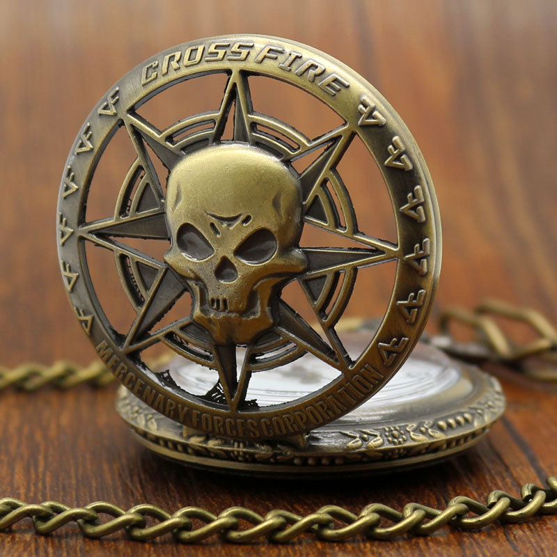 Vintage Bronze Steampunk Hollow Carribean Pirate Skull Head Horror Quartz Pocket Watch with Chain for Girls and Women antique hollow carving horse quartz pocket watch steampunk bronze fob clock for men women gift item with necklace 2017