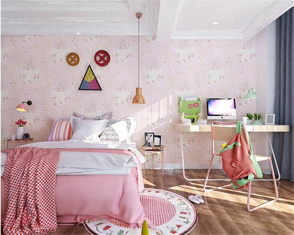 beibehang Modern non-woven wallpaper children's room dream garden boy and girl bedroom princess room papel de parede wall paper beibehang wallpaper high grade environmental protection non woven wallpaper girl boy room room striped wall paper car children