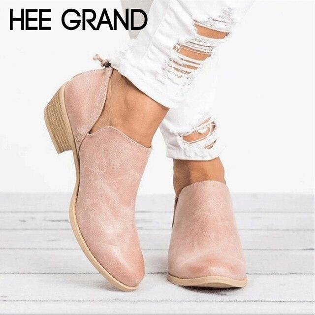 HEE GRAND kobiety zimowe buty Slip On kobiet przyczynowe botki buty na koturnie kobieta pnącza guma mieszkania buty Plus rozmiar 35- 43 XWX6903