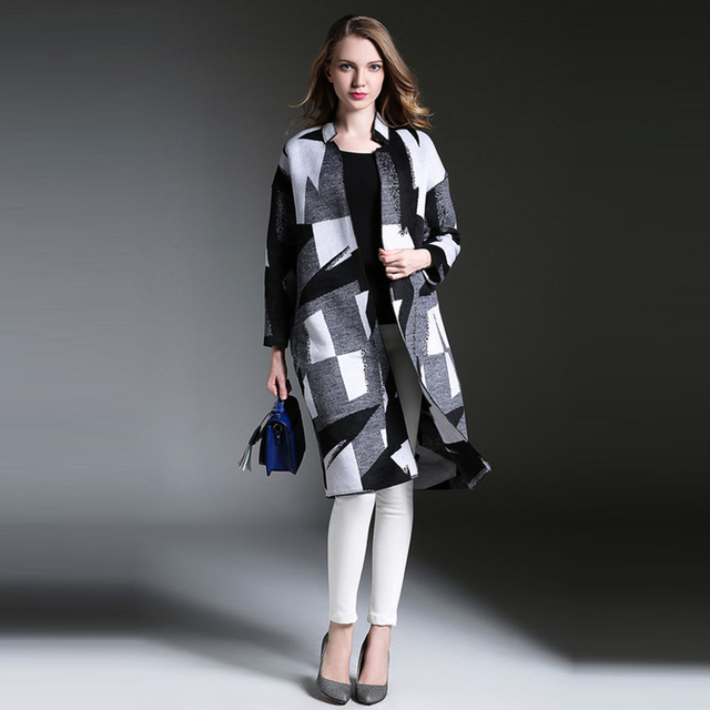 Классический Траншеи 2016 Женщин Новый Осень-Зима Мода Длинным Рукавом Тонкий High Street Элегантный Длинную Траншею