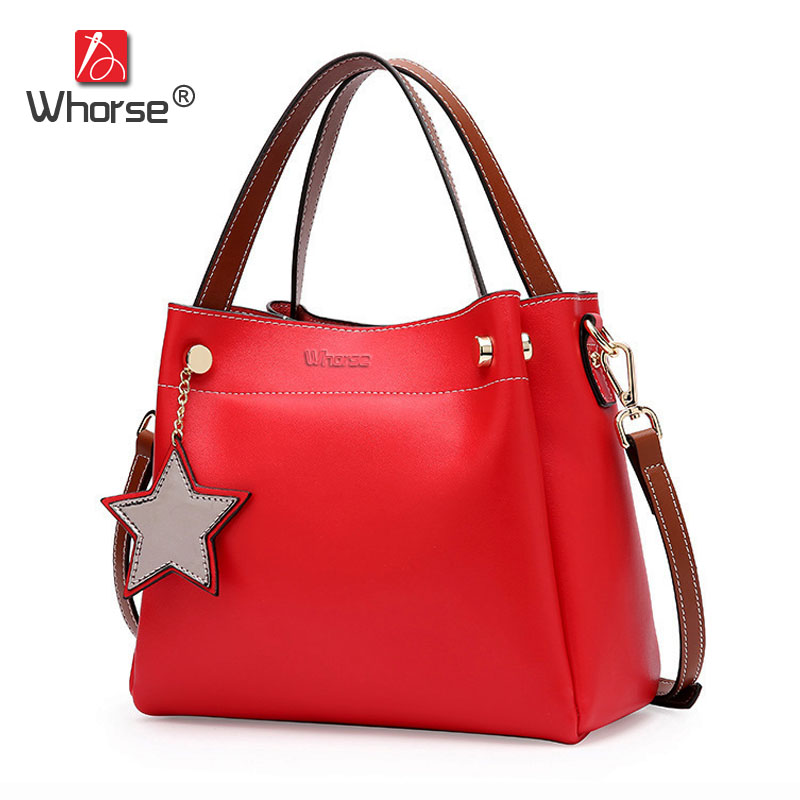 Medium Fashion Style Genuine Leather Shoulder Bag Women Cowhide Handbags Messenger Bags With Star Handbag For Woman W09410 2017 new female genuine leather handbags first layer of cowhide fashion simple women shoulder messenger bags bucket bags