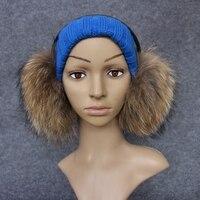 Mulheres Moda Inverno Quente Ear Earmuffs Pele De Guaxinim Marrom Atacado varejo Estilo Sólido Feminino Como Presente Envie para Um Amigo Menina FK1302-1