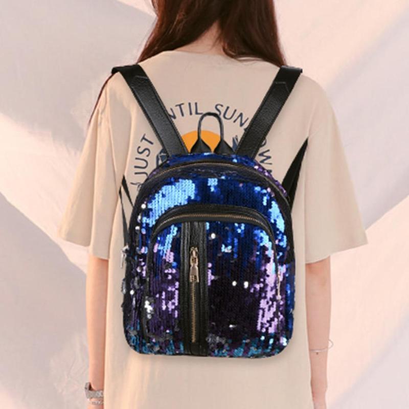 2Pcs/Set Luxury Women Backpack Lady Girls Gorgeous Sequins Leather Backpack Multifunction Travel Mochila