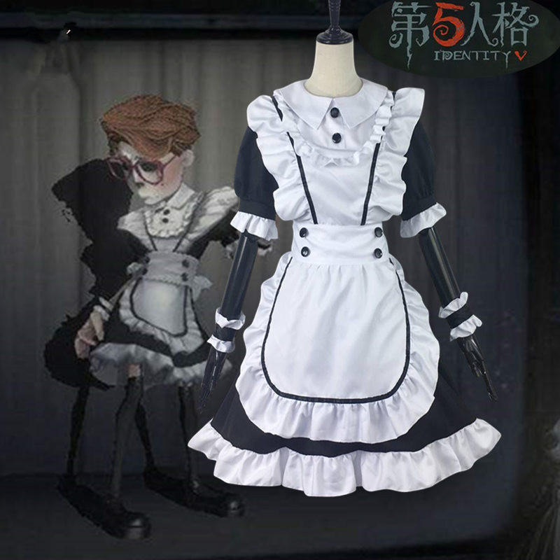 Maid Costume Cos Woman Hot Game Identity V Cosplay Costume Japanese Maid Lolita Set White Apron+Black Dress+Wrist+Back Bow
