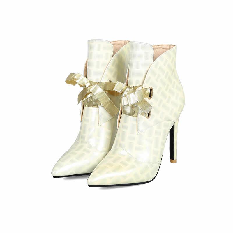 ASUMER พลัสขนาด 36-47 รองเท้าแฟชั่นสำหรับผู้หญิง pointed Toe Lace Up งานแต่งงานรองเท้า Elegant พรหมฤดูใบไม้ร่วงฤดูหนาวรองเท้าผู้หญิง