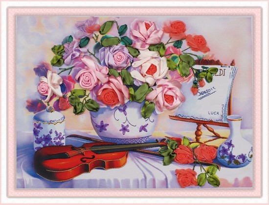 Needlework,DIY Ribbon Cross stitch Sets for Embroidery kit,table vase violin rose floral flower ribbon Cross-Stitch needlework