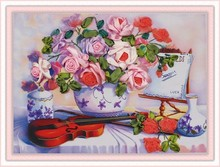 Needlework,DIY Ribbon Cross stitch Sets for Embroidery kit,table vase violin rose floral flower ribbon Cross-Stitch needlework