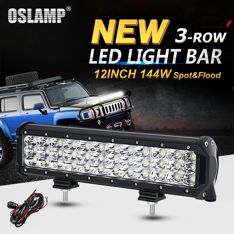 Oslamp 12inch 144W 3-Row Straight LED Light Bar Offroad Combo Beam Led Work Light Truck SUV ATV 4x4 4WD 12v 24v Led Driving Lamp стоимость