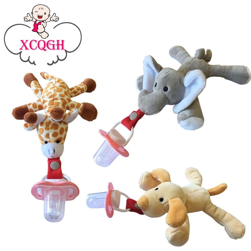 XCQGH Chupeta अटैच सुकलेट बेबी पेसिफ़र रिमूवेबल विथ लिड टॉय पेसिफ़ायर डमी फीडिंग एलीफेंट सिलिकॉन निप्पल नवजात शिशुओं के लिए