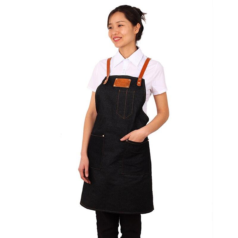 2018 Senior Denim cowboy Schürze Küche Bib Leder Riemen Schürze für Frauen Männer kochen Restaurant Kellnerin Custom Print Logo BBQ
