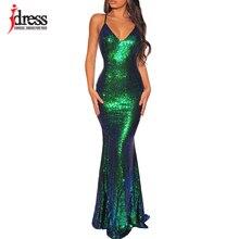 IDress 2019 สีดำ/ทอง/สีเขียวผู้หญิงคอ V ชุดราตรี Maxi ยาวชุดเซ็กซี่ Backless เลื่อม vestidos Longo