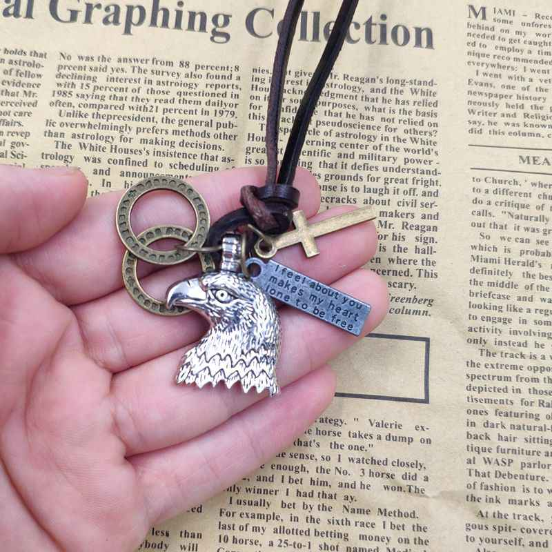 100% Cowhide เชือกของแท้โบราณสร้อยคอ Punk หนัง Eagle ฉลามปลา Ocean Bronze Cross Loop Letter Tag Mens ของขวัญ AC081-084