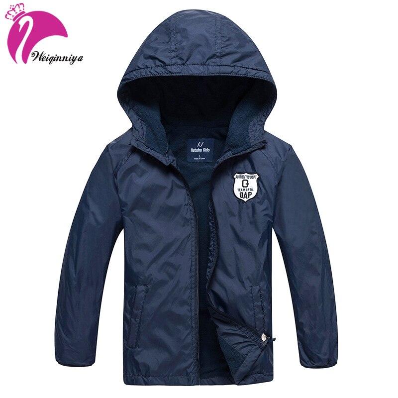 Ветровка для мальчика Детская куртка с капюшоном плюс толстые вельветовые куртки для Обувь для мальчиков Весенняя мода одноцветное осенне...