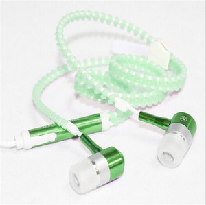 Image 5 - Fashion Glow Wired Headphone Luminous Light Metal Zipper Earphone Glow In The Dark Headphones Headset for Iphone Xiaomi Samsung