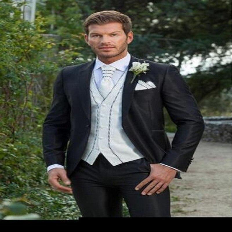 Negocios Pantalones Trajes Negros custom Formal Image Vestido Palacio Boda  De As Made Novio Chaleco Del Hombres Encargo ... e1768037c46