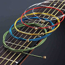 цена на 6Pcs/Set Acoustic Guitar Strings Rainbow Colorful Guitar Strings E-A For Acoustic Folk Guitar Classic Guitar Multi Color