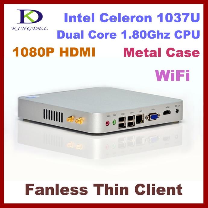 3 Year Warranty Kingdel Barebone Mini PC, Desktop computer HTPC, Intel Celeron/Pentium Dual Core CPU, HDMI, WiFi, Fanless