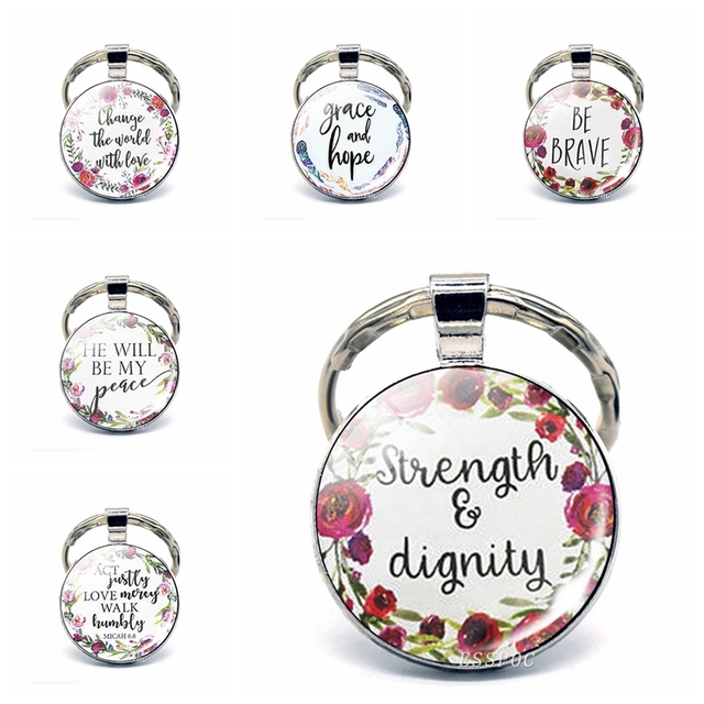 Strength   Dignity Bible Verse Pendant Keychain Keyring Inspirational Quote Christian  Key Chain Key Rings Scripture 51edbcff4