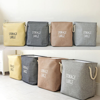 4 Colors Storage Basket Cotton Linen Storage Organizerfor For Toys Sundries Cabinet Folding Storage Box Home Laundry Basket