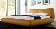 simple leisure contemporary genuine leather bed modern bedroom furniture made in China