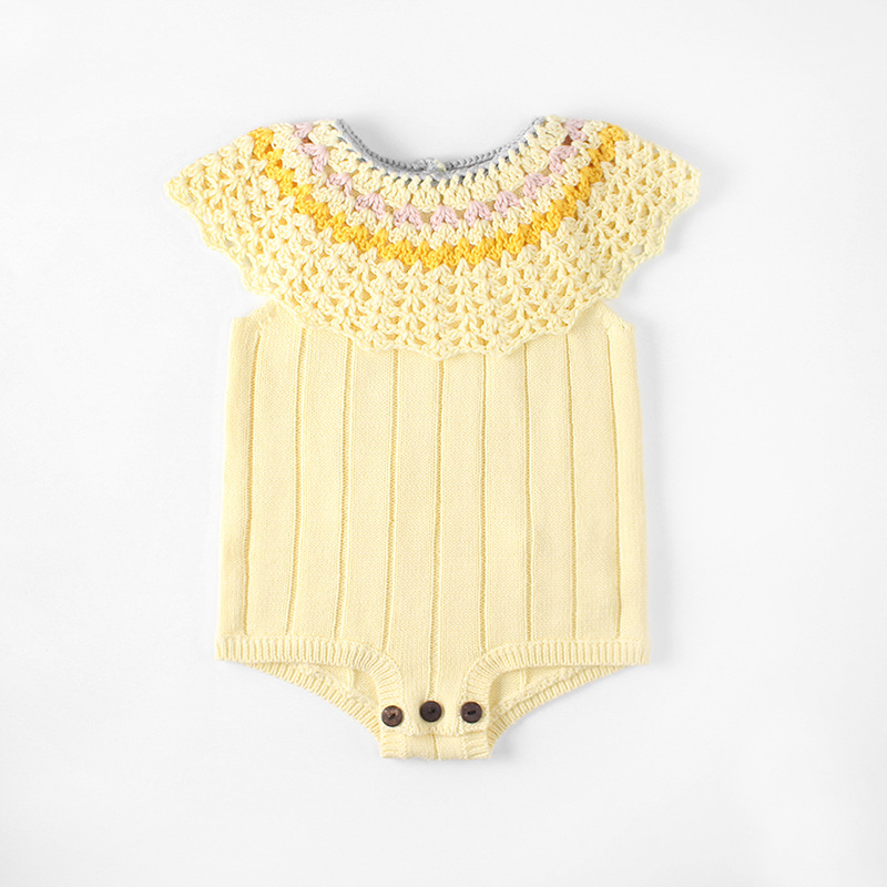 2018 Ins European&America Girl Handmade Hollow Knitted Overalls Baby Rompers Fashion Kids Girl Shorts