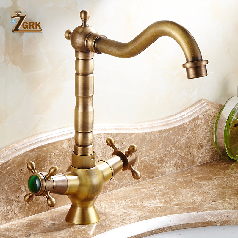 ZGRK Basin Faucet Copper Antique Style Ceramic Plate Spool Hot And Cold Faucet Heightening Single Hole Dual Handle Water Tap pull the kitchen faucet hot and cold all copper single handle double control rotary groove faucet faucet ceramic spool lu50511