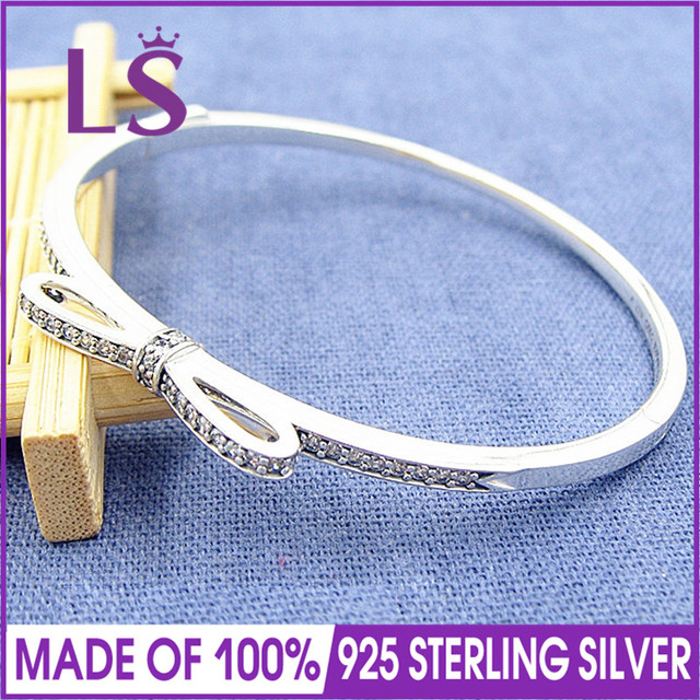 Ls High Quality Sparkling Bow Bangle 925 Sterling Silver Jewelry Charm Bracelets Bangles For Women Fashion Diy W In From