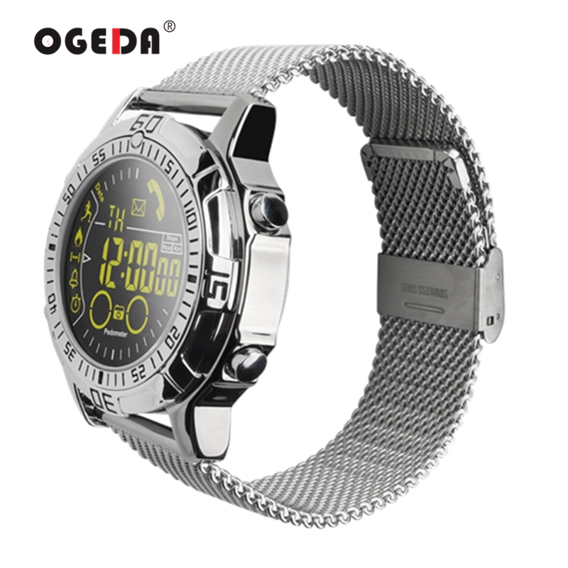 OGEDA EX28 Smart Men's Watch Waterproof Bluetooth Wristwatch Sport Pedometer Stopwatch Call SMS Reminder For IOS Android 2018 elephone w1 bluetooth v3 0 0 49 oled smart bracelet watch w call reminder stopwatch rose gold