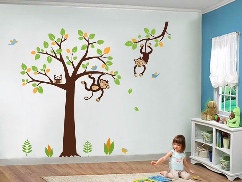 Monkey Owl Wall Decals Vinyl Tree Wall Sticker Nursery Kids
