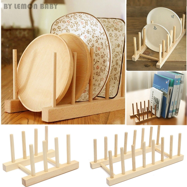 3/5/7 Dishes Wooden Plate Rack Books Wood Stand Display Holder Lids Holds & 3/5/7 Dishes Wooden Plate Rack Books Wood Stand Display Holder ...