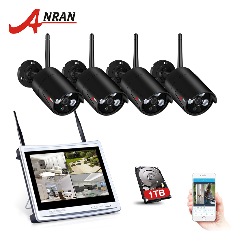 ANRAN 4CH CCTV System Wireless 960P 12 Inch NVR Security Camera System 4PCS 1.3MP IR Outdoor P2P Wifi IP Camera Surveillance Kit 4ch nvr 1tb hdd hard disk 4pcs 1 0mp ip camera ir weatherproof outdoor 720p cctv camera security system surveillance kit