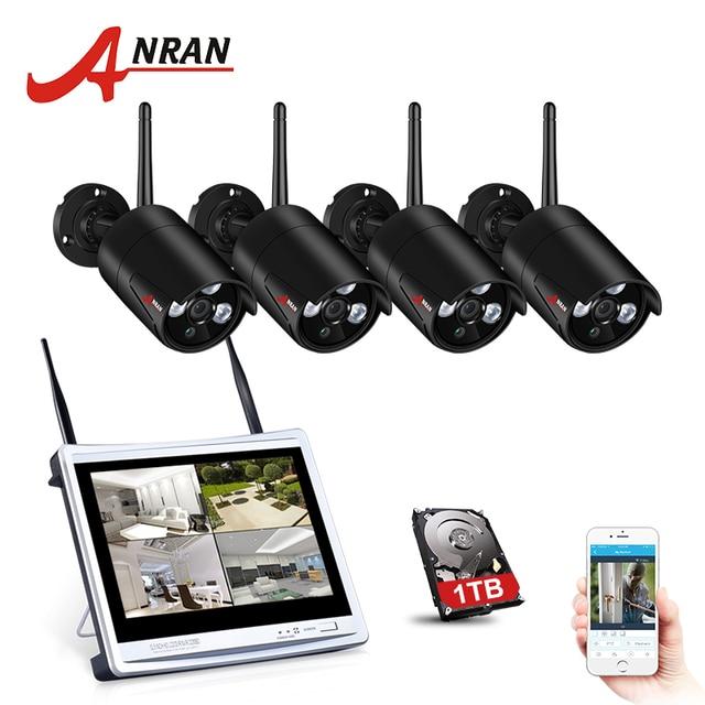 ANRAN 4CH CCTV System Wireless 960P 12 Inch NVR Security Camera System 4PCS 1.3MP IR Outdoor P2P Wifi IP Camera Surveillance Kit