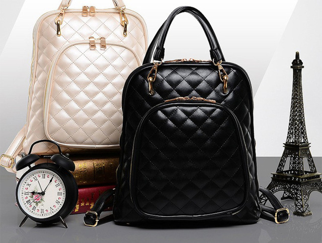 New Womens Quilted Design Tote Shoulder Bag Backpack Purse Quilted ...