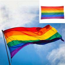 LGBT Pride Flag 1 Pcs 90 x 60cm For Lesbian Gay Colorful Rainbow Home Decor Friendly