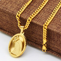 """Mens Womens Stainless Steel Gold Holy God Virgin Mary Oval Medal Pendant with 24"""" Miami Cuban Chain Fashion Mary Mother Necklace"""