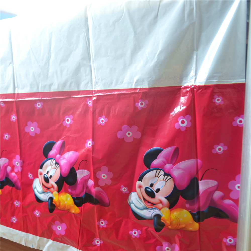 HOT Minnie Mouse Party Supplies Disposable Tablecloth kids Birthday Decoration Baby Shower For Kids Girls 108x180cm