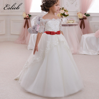 First Communion Dress Hollow Back Lace Up Appliques Half Sleeves Bow Shoulderless Ruffle Little Girl Christmas