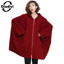 Oladivi Plus Size Women Clothing 10XL Long Batwing Sleeve Hooded Coat Big Size Cotton Padded Shirt Outerwear Ladies Overcoat Top