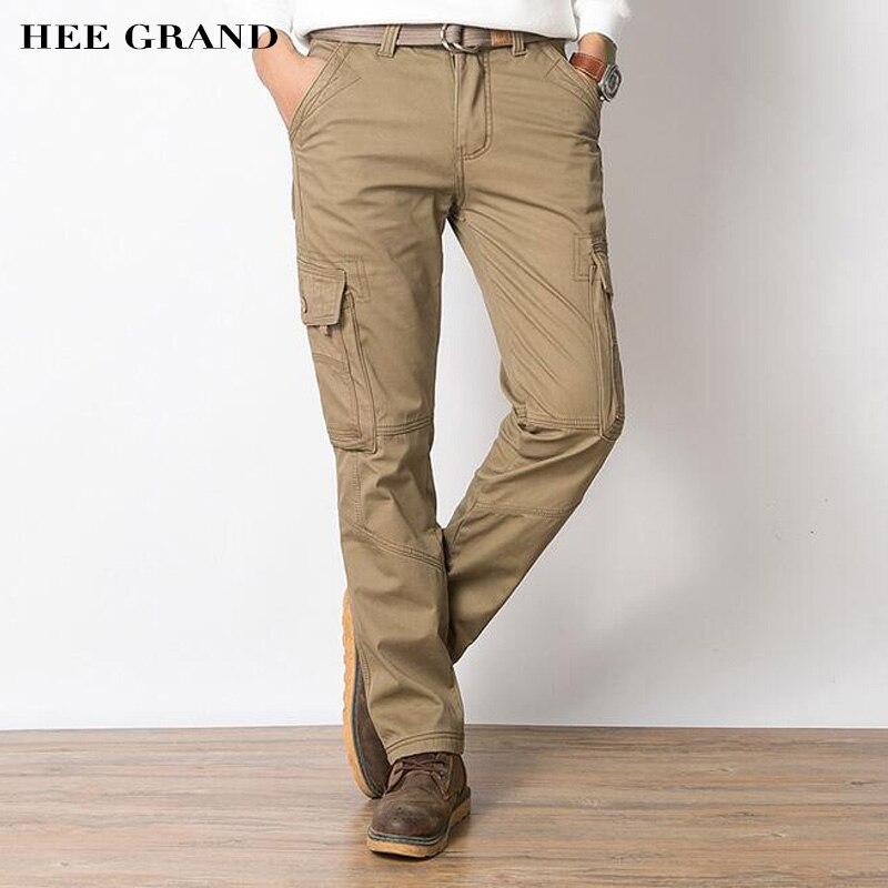 Hee Grand/Для мужчин Повседневное Брюки карго весь хлопок Материал толстые теплые зимние ...