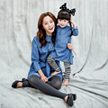 2016 Autumn New Matching Mother Daughter Dresses Denim Long Shirt Clothes Cotton Shirt  Blue Shirts Family Matching Outfit