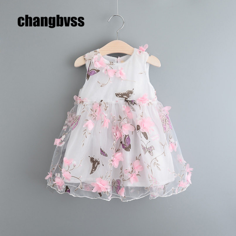 Flower Girls Kids Dresses vestidos moana Sweet Girls Princess Wedding Party Dress Butterfly  Girls Sleeveless Summer Dresses summer 2017 new girl dress baby princess dresses flower girls dresses for party and wedding kids children clothing 4 6 8 10 year