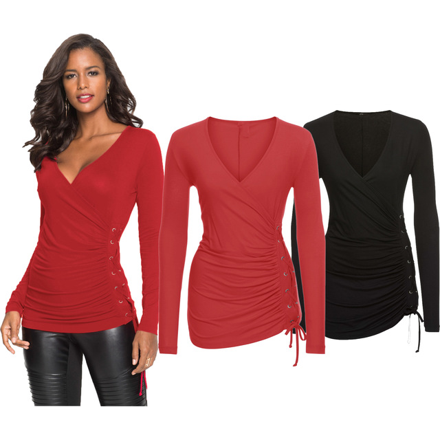 Sexy Bandage Ties Women Top Black Red Lace Up Tee Shirt Femme Low