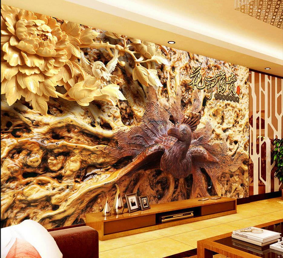 3d wall murals wallpaper wood carvings peacock engraved for 3d wood wallpaper