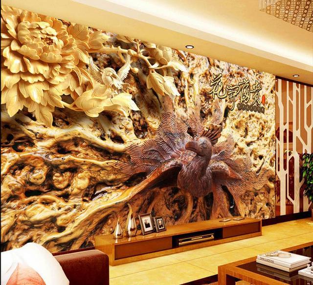 Murales de pared 3d wallpaper tallas de madera grabado - Murales de madera ...