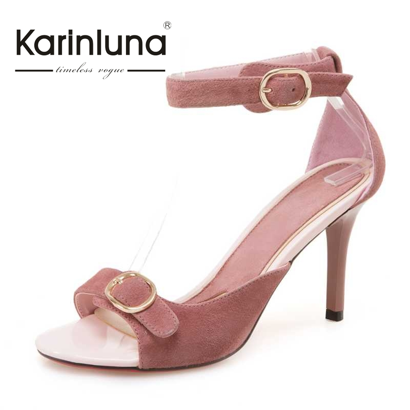 KARINLUNA Suede Women Sandals Fashion Ankle Strap High Heel Open Toe Platform Summer Shoes For Woman 2017 Size 34-39 size 30 43 woman ankle strap high heel sandals new arrival hot sale fashion office summer women casual women shoes p19266